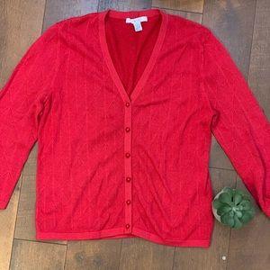 CAbi | Diamond Knit Cardigan Red Large